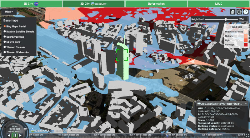 Figure 1: Flood simulation in Milan with a flood risk map and 3D buildings visualization and query