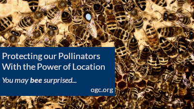 "banner: Protecting our Pollinators with the power of location. ""You may bee surprised"""
