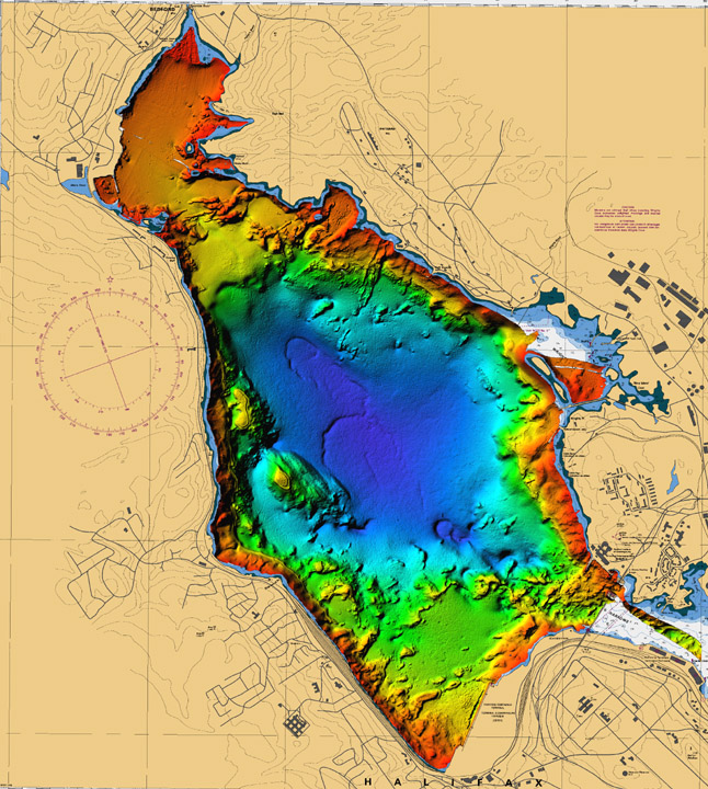 Bathymetric Map courtesy of NRCan http://www.bedfordbasin.ca/halifaxharbour/DVD/fig7-eng.php