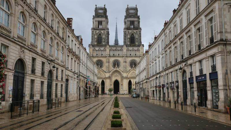Rue Jeanne d'Arc and the Saint-Croix Cathedral in the beautiful city of Orléans, France.
