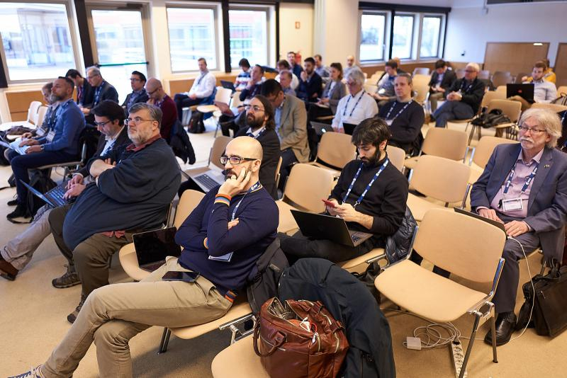 Audience at the OGC Testbed-14 Demo day at ESA/ESRIN in Frascati, Italy