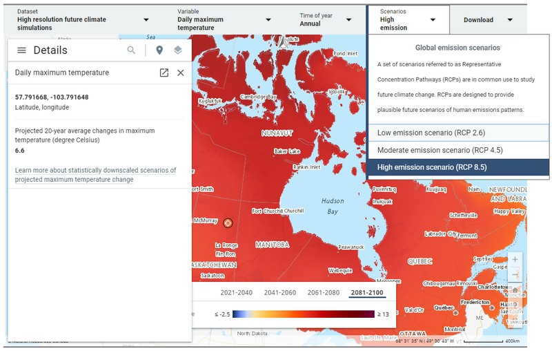 Canadian Centre for Climate Services (CCCS) in-browser Climate Data Viewer