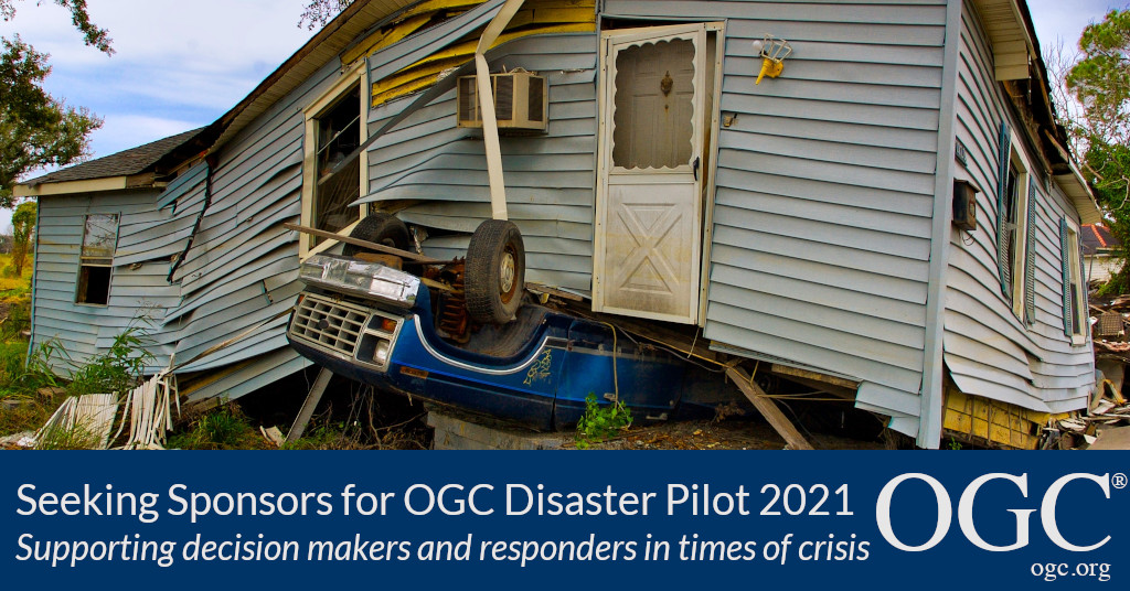 Banner announcing OGC Disaster Pilot 2021 Call For Sponsors
