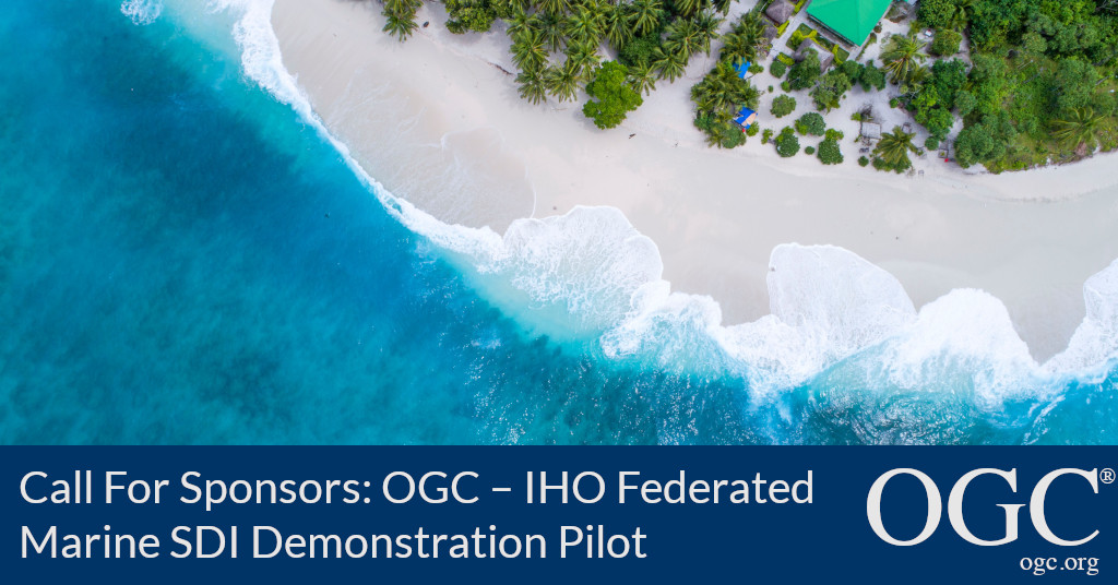 Banner announcing a Call For Sponsors for the OGC-IHO Federated Marine SDI MSDI Demonstration PIlot