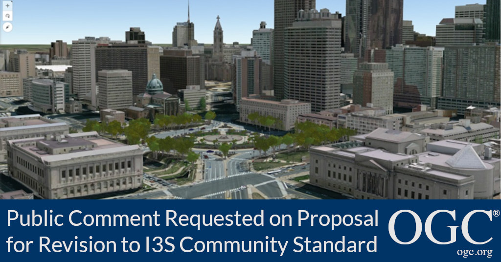 Banner announcing public comment period for a proposal to update the I3S OGC Community Standard