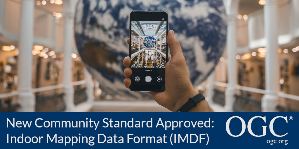 Banner announcing approval of Apple's IMDF as OGC Community Standard